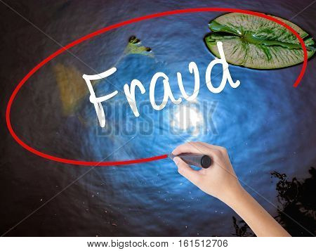 Woman Hand Writing Fraud With Marker Over Transparent Board