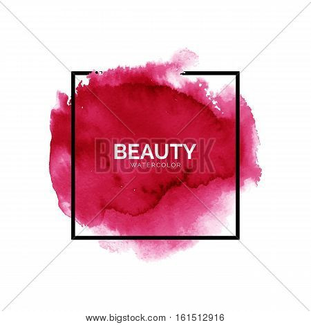 Abstract watercolor red spot with square frame, hand painted watercolour pink stain, bright vector splash, watercolor background for design