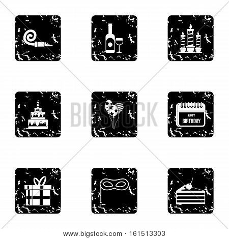Holiday birthday icons set. Grunge illustration of 9 holiday birthday vector icons for web