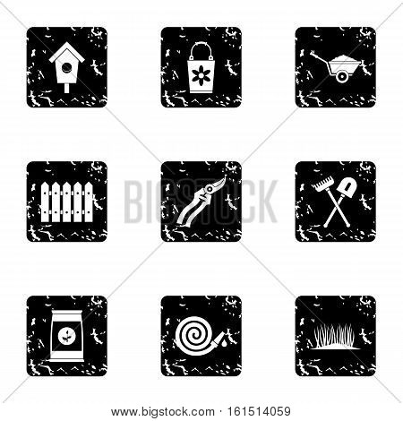 Farm icons set. Grunge illustration of 9 farm vector icons for web
