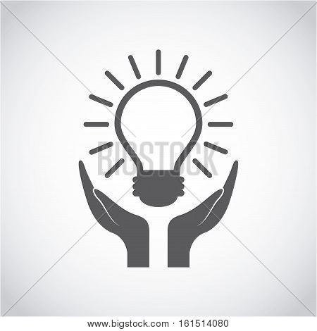 hands and bulb light icon over white background. vector illustraiton