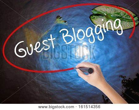 Woman Hand Writing Guest Blogging  With Marker Over Transparent Board