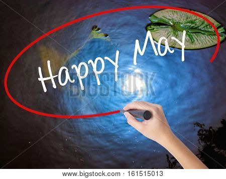 Woman Hand Writing Happy May With Marker Over Transparent Board