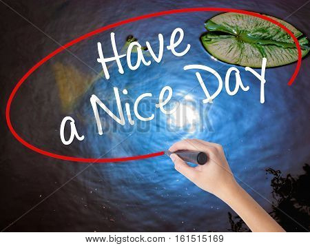 Woman Hand Writing Have A Nice Day With Marker Over Transparent Board