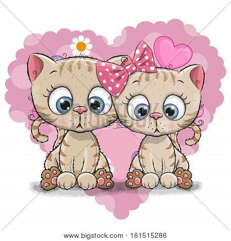 Two Cute Cartoon Kitten on a background of heart