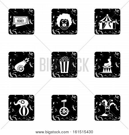 Circus icons set. Grunge illustration of 9 circus vector icons for web