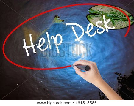 Woman Hand Writing Help Desk With Marker Over Transparent Board