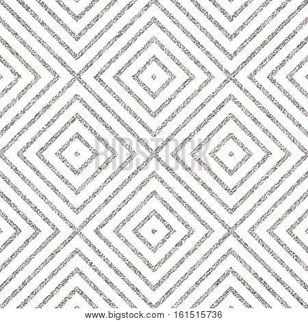 Geometric silver seamless pattern of of rhombus, square, abstract silvery diagonal striped background, vector for paper, card, invitation, wrapping, textile, web design, party