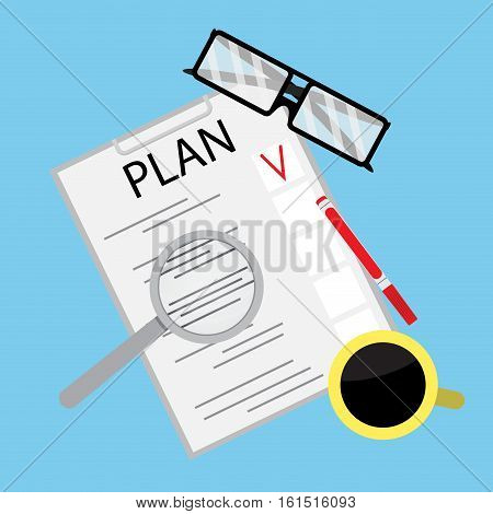 Process of business planning. Business strategy and business model. strategic planning vector illustration