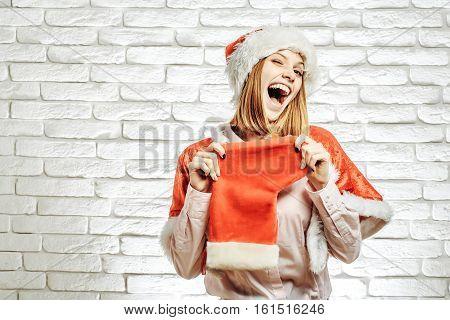 Happy Santa Girl In Christmas