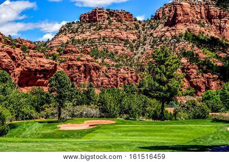 Beautiful Landscape of the Red Rock Canyon Golf Course in Sedona