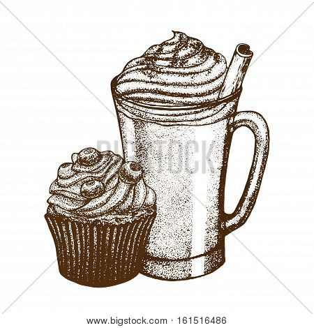 vector hand drawn graphic illustration with coffee mug and berry muffin