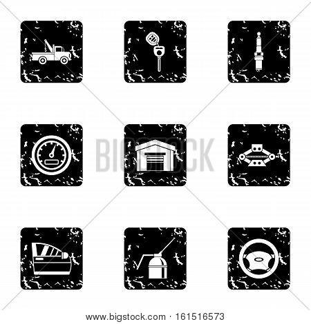 Maintenance car icons set. Grunge illustration of 9 maintenance car vector icons for web
