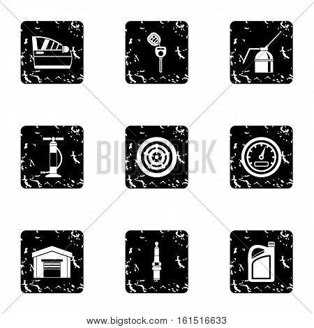 Renovation for machine icons set. Grunge illustration of 9 renovation for machine vector icons for web