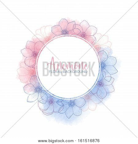 Watercolor floral wreath with flower anemones of color 2016 Rose Quartz and Serenity, pink and blue watercolour template for invitation, greeting card, wedding, save the date, hand drawn vector design