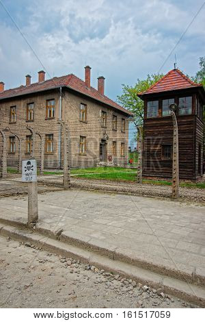 Oswiecim, Poland - May 2, 2014: Watch tower in Auschwitz concentration camp Poland.