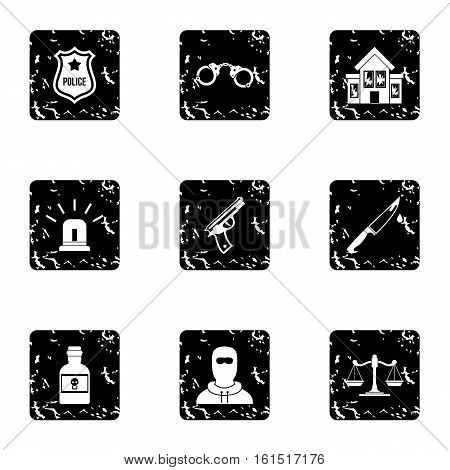 Illegal action icons set. Grunge illustration of 9 illegal action vector icons for web
