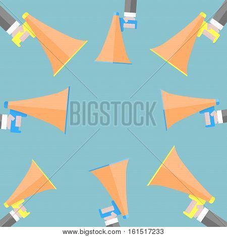 Advertising banner announcement poster. Megaphone news and business announcement banner. Vector illutsration
