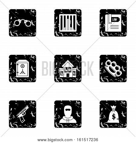 Offense icons set. Grunge illustration of 9 offense vector icons for web