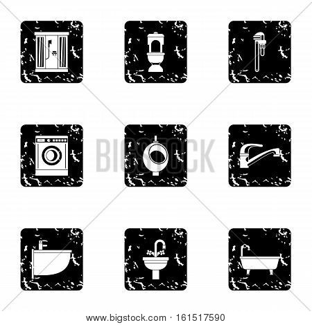 Equipment for bathroom icons set. Grunge illustration of 9 equipment for bathroom vector icons for web