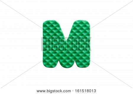 Green Alphabet M Made From Eva Foam On White Background