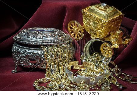 Mixed gold silver and diamonds jewelry. treasure