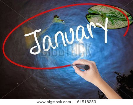 Woman Hand Writing January With Marker Over Transparent Board