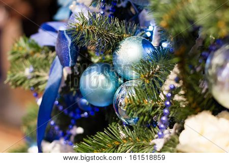 Vintage Christmas Decorations On The Christmas Tree