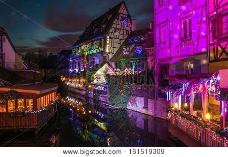 Colmar, France - December 9, 2016: Historic center of Colmar at christmas time