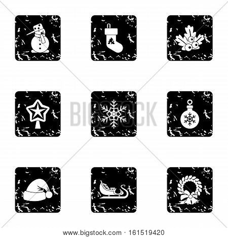 Winter holiday icons set. Grunge illustration of 9 winter holiday vector icons for web