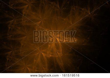 Gold orange brown black floral fractal background