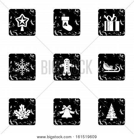 Xmas icons set. Grunge illustration of 9 xmas vector icons for web