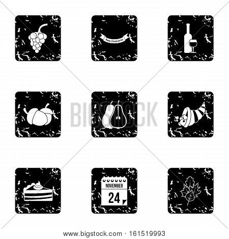 Public holiday of USA icons set. Grunge illustration of 9 public holiday of USA vector icons for web