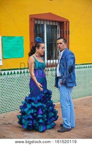 Couple In Traditional Flamenco Clothes