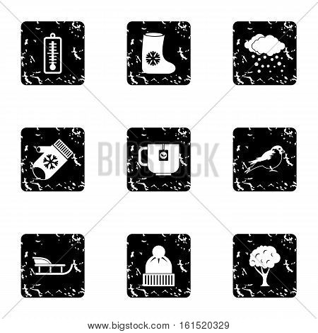 Winter holidays icons set. Grunge illustration of 9 winter holidays vector icons for web