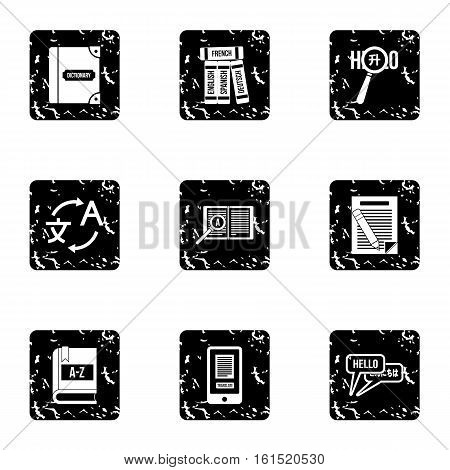 Foreign language icons set. Grunge illustration of 9 foreign language vector icons for web