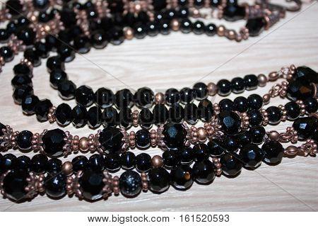 beautiful beads of iron and bronze beads, ukraine, ethno
