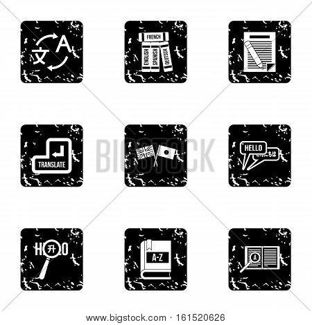 Translation icons set. Grunge illustration of 9 translation vector icons for web