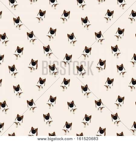 Dog with big head and nose. Vector Seamless pattern