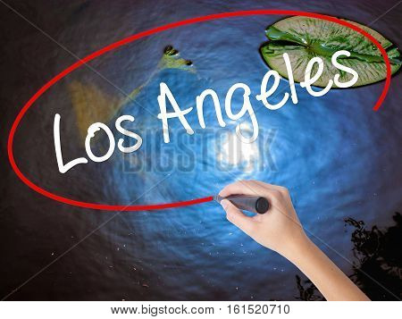 Woman Hand Writing Los Angeles With Marker Over Transparent Board