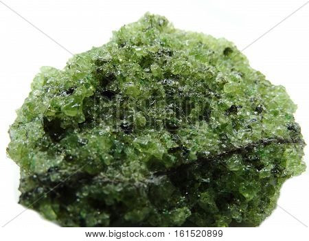 olivine semigem geological green bright crystal isolated