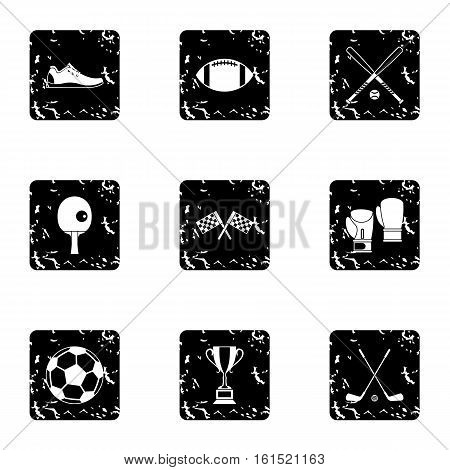 Sports equipment icons set. Grunge illustration of 9 sports equipment vector icons for web