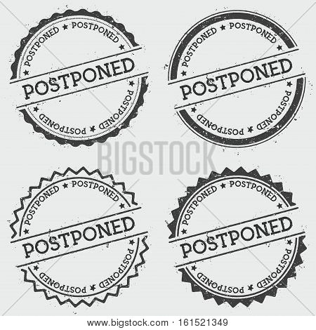 Postponed Insignia Stamp Isolated On White Background. Grunge Round Hipster Seal With Text, Ink Text