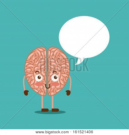 cartoon brain with speech bubble icon over blue background. colorful design. vector illustraiton