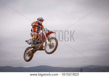 POMORIE BULGARIA - MARCH 24: 2013 - Motorbike in flight bike jump at the