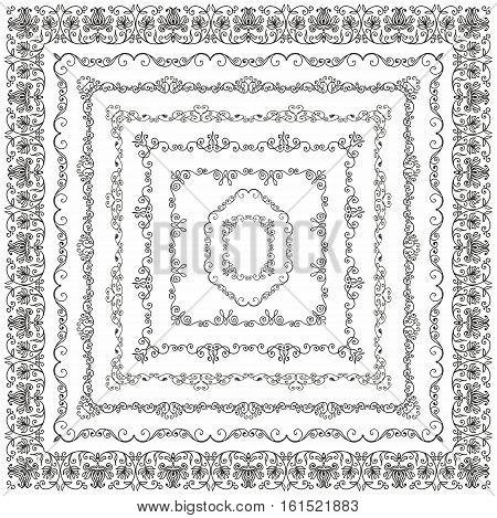 Collection of Vector Black Outlined Hand Drawn Vintage Square Borders, Frames. Design Elements. Vector Illustration