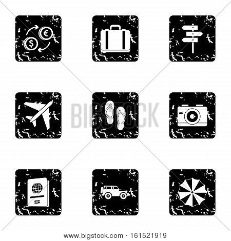Rest on sea icons set. Grunge illustration of 9 rest on sea vector icons for web