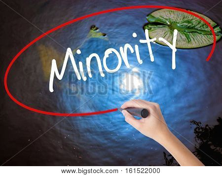 Woman Hand Writing Minority With Marker Over Transparent Board