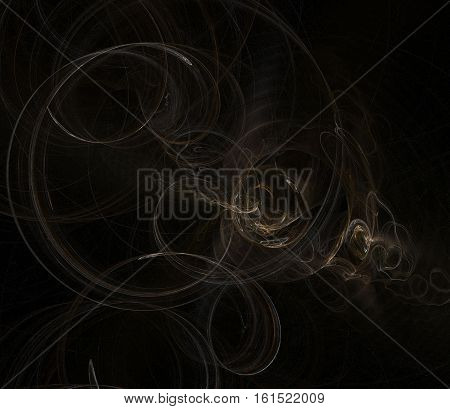 Abstract chaotic smoky black brown fractal background