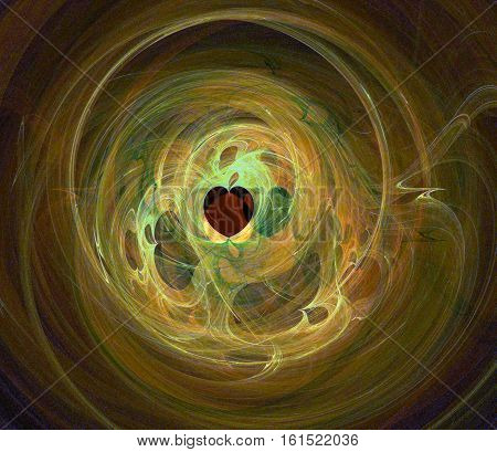 Abstract fractal yellow green brown wavy background with heart shape